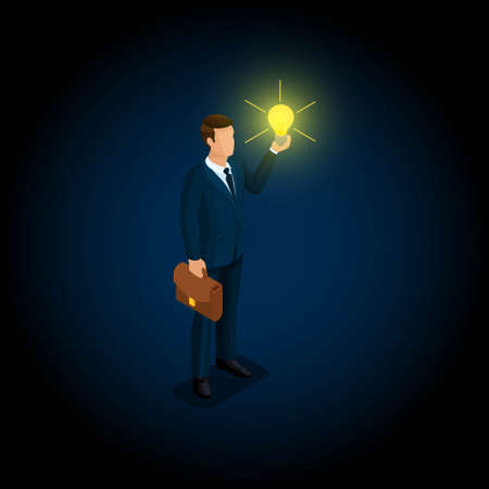 Isometric man, businessman 3D. The concept of creating ideas isometric businessman in a suit, briefcase, bulb on a dark background