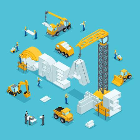 ビジネスのアイデア、ブランド、クリエイティブの等尺性の 3 D の建物。建設工事で働く人々。