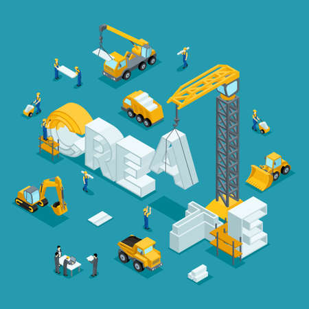 building site: Isometric 3D Building of business ideas, brand, creative on a dark background. Working people in the construction work. Illustration