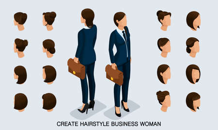 Isometric business woman set 2 3D, womens hairstyles to create a stylish business woman, fashionable hairstyle rear view isolated on a light background.