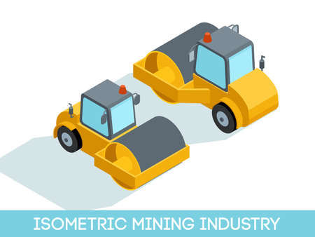 Isometric 3D mining industry icons set 5 image of mining equipment and vehicles isolated on a light background vector illustration. Illustration