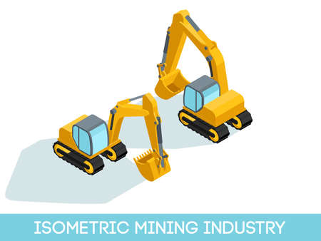 Isometric 3D mining industry icons set 3 image of mining equipment and vehicles isolated on a light background vector illustration.