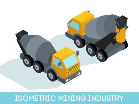 Isometric 3D mining industry icons set 2 image of mining equipment and vehicles isolated on a light background vector illustration.