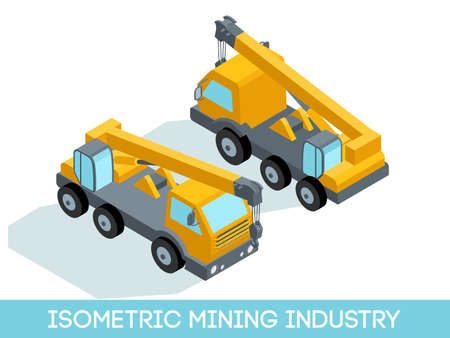 Isometric 3D mining industry icons set 1 image of mining equipment and vehicles isolated on a light background vector illustration.