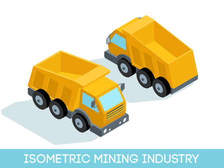 excavate: Isometric 3D mining industry icons set 6 image of mining equipment and vehicles isolated on a light background vector illustration. Illustration