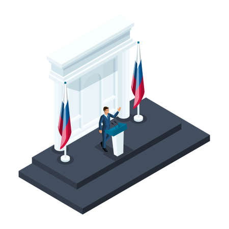 Isometry male presidential candidate, 3d candidate speaking at a briefing in the Kremlin. Speech, Russian flag, elections, voting. Vectores