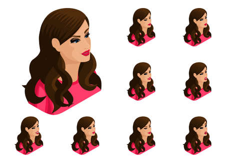 Isometry girl set of hairstyles and emotions, beautiful, bright woman. Qualitative 3D vector isometry.