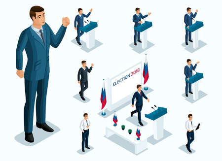 Isometrics Mr. President, voting, elections, debate. Gestures of Candidate, slogans of men of businessmen, power, beautiful and expensive suits. Vetores