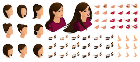 Isometry icons of the emotions of a beautiful woman, 3D hair, faces, eyes, lips, nose. facial expression. Quality isometrics create your appearance girl.