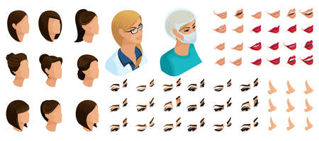 Isometrics create your emotions for a woman doctor. Sets of 3D hairstyles, faces, eyes, lips, nose, facial expression. Qualitative vector isometry. Ilustração