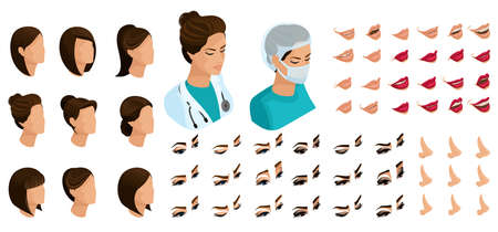 Isometrics create your emotions for a woman surgeon. Sets of 3D hairstyles, face, eyes, lips, nose, facial expression, makeup, lipstick color. Illusztráció