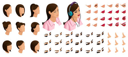 Isometrics create your emotions for a girl teenager. Sets of 3D hairstyles, faces, eyes, lips, nose, facial expression. Qualitative vector isometry. Illustration
