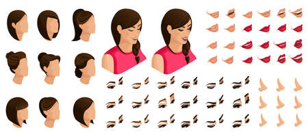 Isometrics create your emotions for a sweet girl. Sets of 3D hairstyles, faces, eyes, lips, nose, facial expression. Qualitative vector isometry.