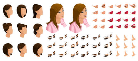 Isometrics create your emotions for a simple girl. Sets of 3D hairstyles, faces, eyes, lips, nose, facial expression. Qualitative vector isometry. Иллюстрация