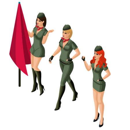 Chica isométrica, chica 3D en uniforme militar, rubia, morena, pelirroja. Excelente figura de maquillaje brillante, personajes el 23 de febrero.