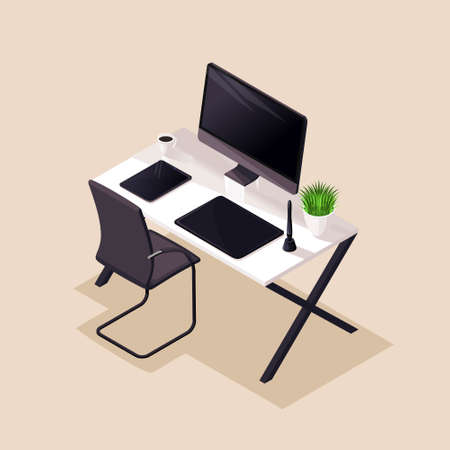 Isometry, desktop, comfortable workplace, monitor, graphic tablet, comfortable chair. Beautiful concept for illustrations.