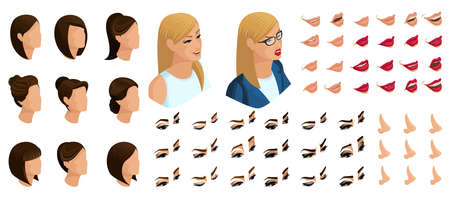 Isometrics create your emotions and hair style for a woman president. Sets of 3D hairstyles, faces, eyes, lips, nose, facial expression to the presidential candidate.