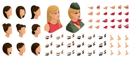 Isometrics create your emotions and hairstyles for a blonde girl in military uniform. Sets of 3D hairstyles, faces, eyes, lips, nose, facial expression.