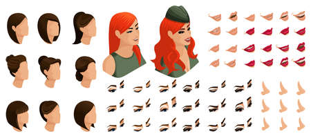 Isometrics create your emotions and hairstyles for the red-haired girl in military uniform. Sets of 3D hairstyles, faces, eyes, lips, nose, facial expression.