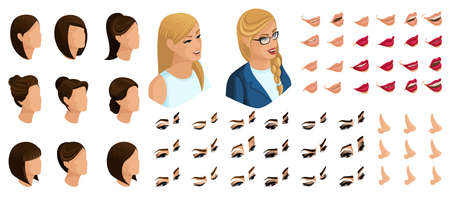 Isometrics create your emotions for a woman president. Sets of 3D hairstyles, faces, eyes, lips, nose, facial expression and emotions to the presidential candidate. 스톡 콘텐츠 - 106971725
