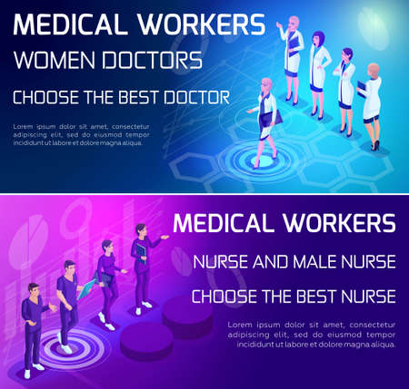 Isometry is a vivid concept of the use of types of medical workers, doctors, surgeons, nurse, colorfully designed advertising banners. Stock Photo