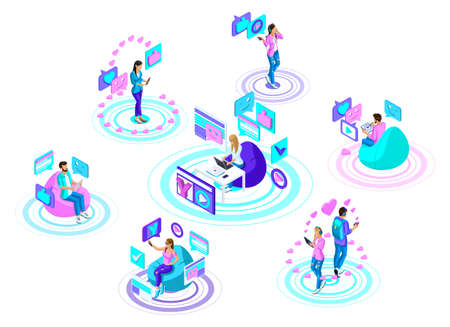 Isometric teenagers with modern gadgets, communicate in social networks and the Internet. Bright, colorful advertising concept