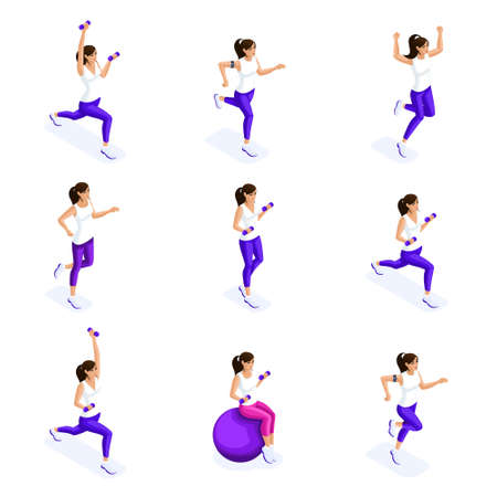 Isometrics of the girl are engaged in sports, sports figure, gymnastics, fitness, healthy lifestyle, the girl on the ball. Set of 3d characters.