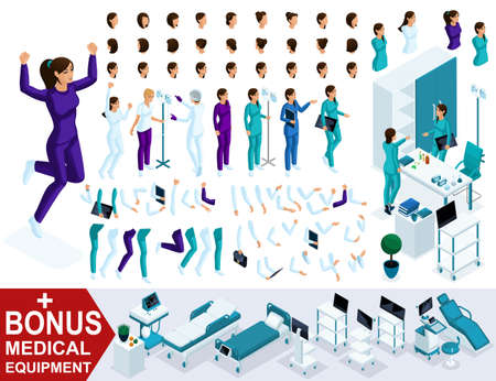 Isometrics create your nurse character, Set of hands, feet, gestures and emotions of characters with different poses. A large set of hairstyles, plus a bonus.