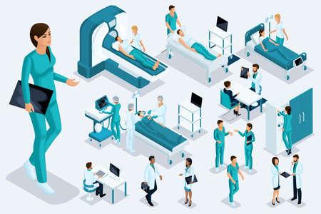 Isometrics medicine, Female nurse, large figure, medical apparatus, diagnosis, treatment, a large set of medical equipment. Stock fotó