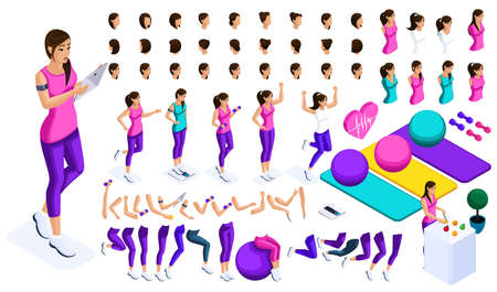 Isometrics create your sports girl, a large set of emotions, hand gestures and foot movements. To create your character.