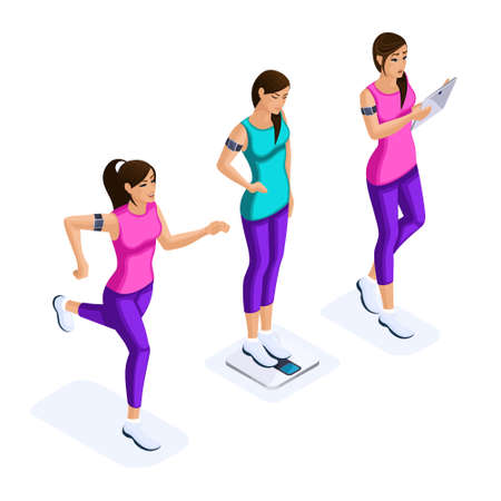Isometry set of beautiful girls athletes, using modern gadgets, maintain health, healthy lifestyle, fitness, gymnastics, running in sneakers. Illustration