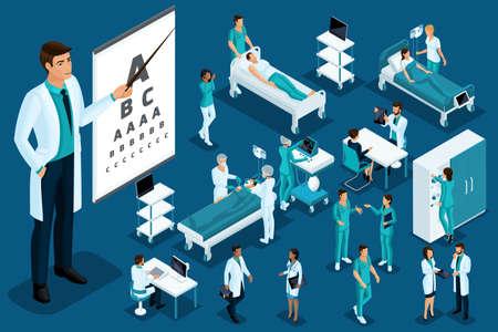 Medycyna izometryczna, lekarz, okulista, duży chirurg, wyroby medyczne, diagnoza, leczenie, duży zestaw sprzętu medycznego. Ilustracje wektorowe