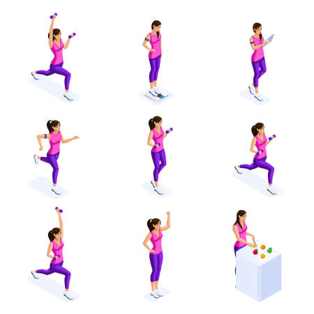 Isometry of a girl engaged in sports, sports figure, proper nutrition, gymnastics, fitness, healthy lifestyle. Set of vector characters.