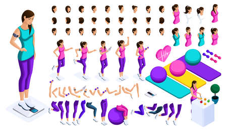 Isometrics create your athlete, a large set of emotions, gestures of hands, foot movements, a healthy lifestyle. To create your character. Ilustração