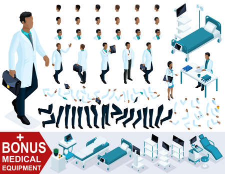Isometric Doctor The African American goes, create your 3D character as a surgeon, sets of gestures of the legs and hands. Bonus medical equipment.