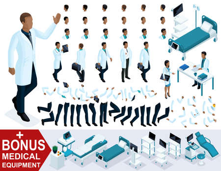 Isometrics Doctor An African American waving his hand, create your 3D character of the surgeon, sets of gestures of the feet and hands. Bonus medical equipment.  イラスト・ベクター素材