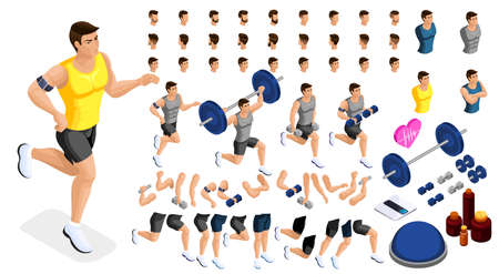 Isometrics create your sporty inflated man, a set of hairstyles, emotions, hands, feet. Without, gym, jumping. Sports equipment for creative set 1.