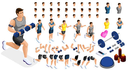 Isometrics create your sporty inflated man, a set of hairstyles, emotions, hands, feet. Without, gym, jumping. Sports equipment for creative set 3.