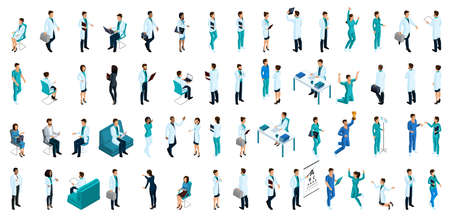 Isometrics a large set of characters, people in medical clothes, a doctor, a surgeon, a nurse, a medical assistant, patients, paramedic. Vectores
