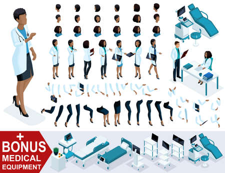 Isometric Woman Doctor African American, create your 3D surgeon, sets of gestures of the feet, hands and emotions. Bonus medical equipment, set 4.