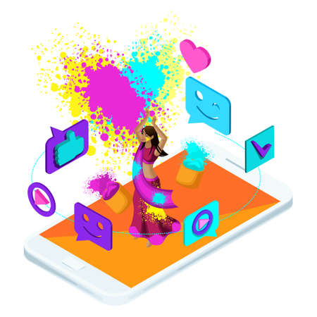 Isometric video Broadcast holiday Holi in India, blog, video, smileys, Laika, girl jumping is happy.