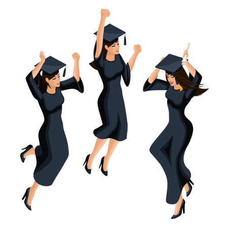 Isometry of a graduate girl, jumping is happy, academic attire, diploma, mantle, academic cap. Set of characters for graphics.