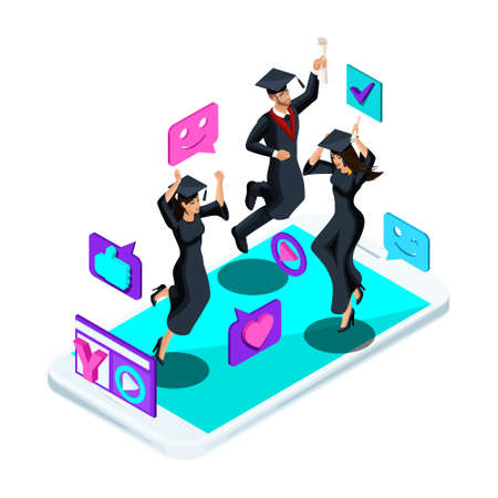 Isometrics graduates girls and boys, jumping rejoice, academic attire, diploma, mantle, shoots video blog, smileys, likes, smartphone, video broadcast.