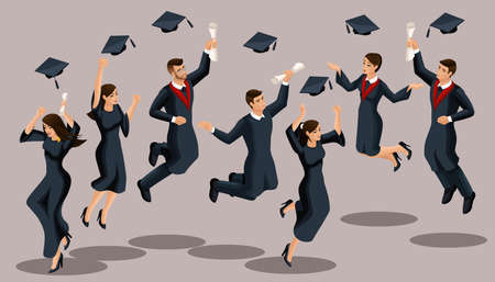 Isometrics graduates girls and boys, jump, academic robes, hats, throw up, diplomas. Set of funny characters.