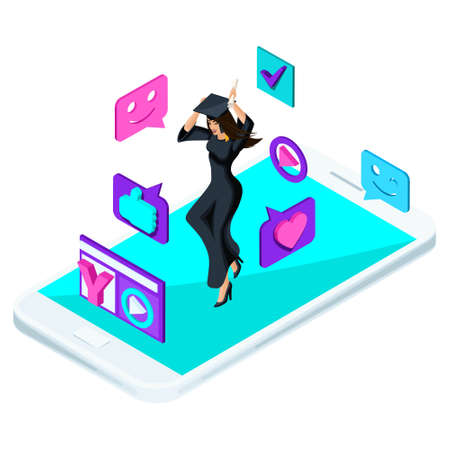 Isometric girl graduate, jumping is happy, academic clothes, diploma, mantle, blog, video, smileys, likes, smartphone.