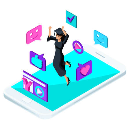 Isometric girl graduate, jumping is happy, academic clothes, diploma, mantle, shoots video blog, smileys, likes, smartphone, a laptop.