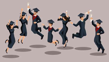 Isometrics graduates girls and boys, jump, academic robes, hats, rejoice, diplomas. Set of funny characters. Vetores