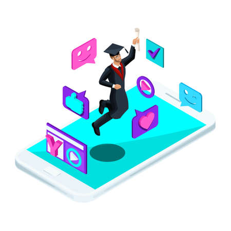 Isometrics graduate male, jumping rejoices, academic clothing, glasses, diploma, mantle, shoots video blog, smileys, likes, smartphone, video broadcast. Illustration