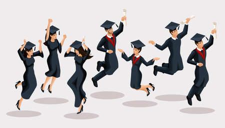 Isometrics graduates girls and boys, jump, academic robes, hats, rejoice, diplomas, graduates. Set of funny characters.