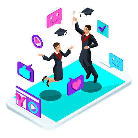 Isometrics graduates, jumping rejoice, academic wear, diploma, mantle, shoots video blog, smileys, likes, smartphone, video broadcast.